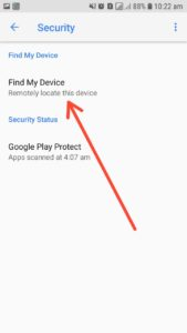 mobile phone settings with find my device option