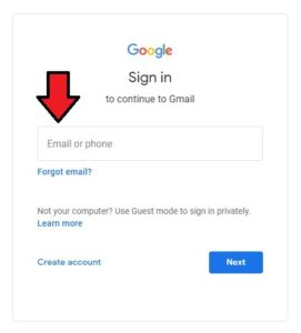 Enter Gmail ID or phone number